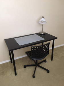 Ikea desk, chair and lamp