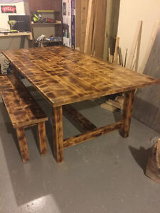 Handmade Dining table and bench set
