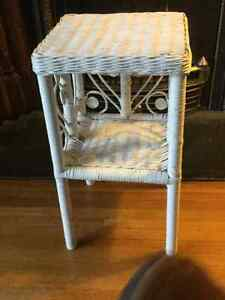 White wicker side table in excellent condition.