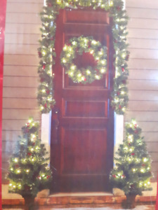Christmas wreath and 2 potted tress for sale. All pre-lit.