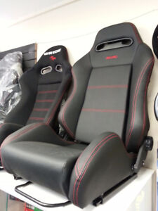 jdm recaro style racing seat, black with red stitiching
