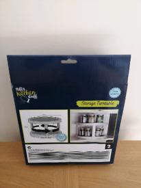2 Tier Plastic Anti Slip Rotating Kitchen Food Spice Jars Storage