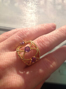 Gold AMETHYST unique gorgeous ring!! Size 6.75