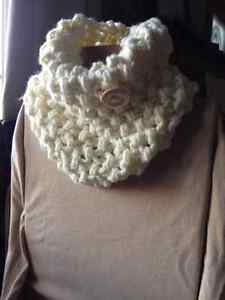 Trendy hand knit cowl with button Sarnia Sarnia Area image 1
