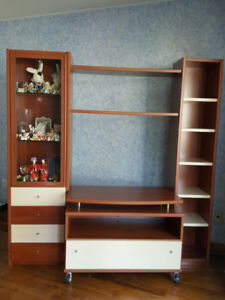 Wall Unit - Bookshelves + Display Cabinet + Table