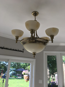 Antique Brass Chandelier (2) and Lights (2)