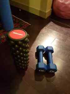 Weights and foam roller