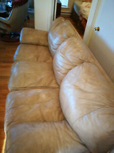 Tan leather couch/reduced