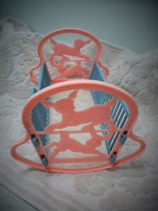 RELIABLE CANADA PINK AND BLUE PLASTIC DOLL CRADLE