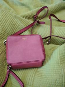Pink and orange fossil wallet bag