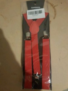 Red suspenders and bow tie $20