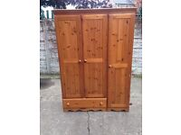 solid pine triple wardrobe used condition only £90 good bargain