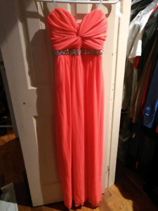 Formal Hot Salmon Pink Dress with Waist Embellishments  Size 5