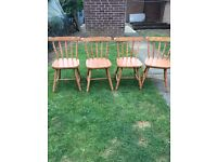 4 solid pine chairs