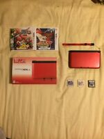 Nintendo 3DS (red) with 3 Games