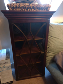Antique narrow astragal bookcase/drawer unit