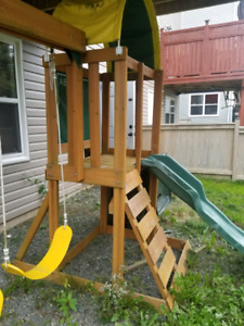 Childs swing set and playhouse