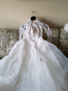 Wedding dress and flower girl dress.