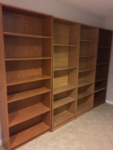 Four bookcases assorted sizes - selling together or individually