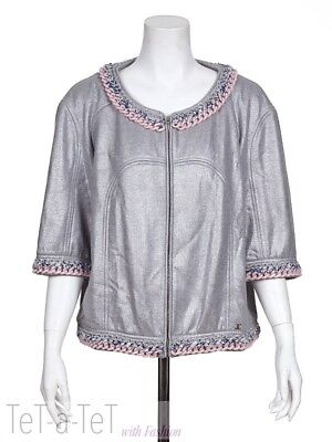 NWT 14P CHANEL Gray Silver Chain JACKET FR-48