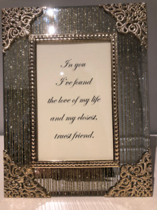 "Gold Tone Frame with decorative antique corners - 8.5"" x 6.5"""