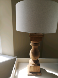 Large grand wooden base Pillar lamp / finished with grey linen shade S