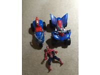 Spider-Man and two battery operated vehicles bike and quad