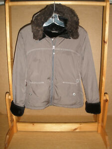 ORB Taupe Winter Jacket with Faux Fur Lining, Size XS