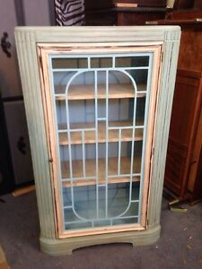 Chalk paint blue and white antique display hutch