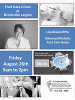 Mobile Medical Foot Care Clinic at  The Brockville Legion Friday