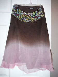 Intricate Beaded Skirt Pink & Brown in Small