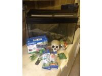 Fish tank with filters and accessories Aprox 50L large tank