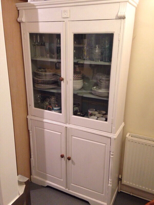 White Large Shabby Chic Kitchen Dining Room Dresser Display Cabinet