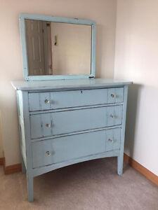 Antique Tidewater blue refinished, distressed dresser!