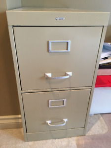 Two 2-drawer filing cabinets with hanging file system