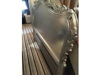 French Silver Leaf 6ft Super King Size Carved Headboard