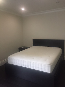 Queen Bed with Storage and Mattress : black frame
