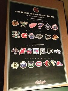 THE NHL OFFICIAL TEAM LOGOS POSTER 1994 BY KELLOGG'S