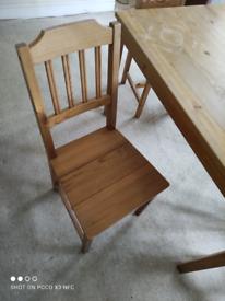 IKEA pine table & 4 chairs.