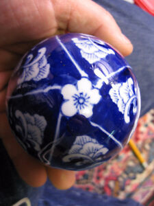 boule décorative ceramique bleue cobalt 3 pouces diametre fleur