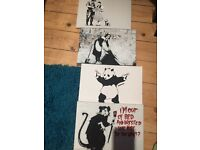 Set of 4 Banksy type pictures