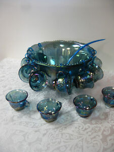 Blue Carnival Glass - FROM PAST TIMES Antiques  - 1178 Albert St