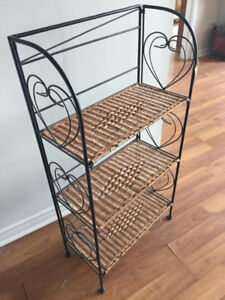 New Folding Iron And Wicker shelf for  A Giveaway Price