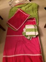 Twin pink and green comforter set