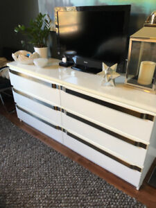 White 6-drawer Dresser with Stainless Steel Handles
