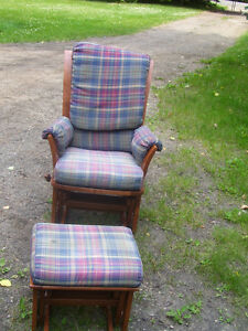 Glider Rocker and Foot Stool