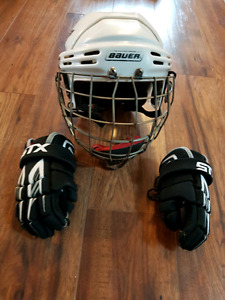 Bauer kids hockey helmet & STX hockey gloves