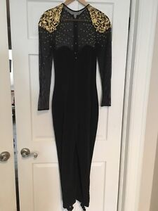 Mesh Jumpsuit with gold details