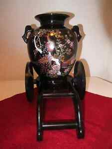 Beautiful Vintage Japanese Vase with Cart Stand.