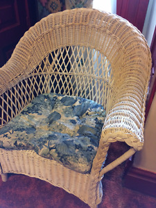 White Wicker Chair with Seat Cushion
